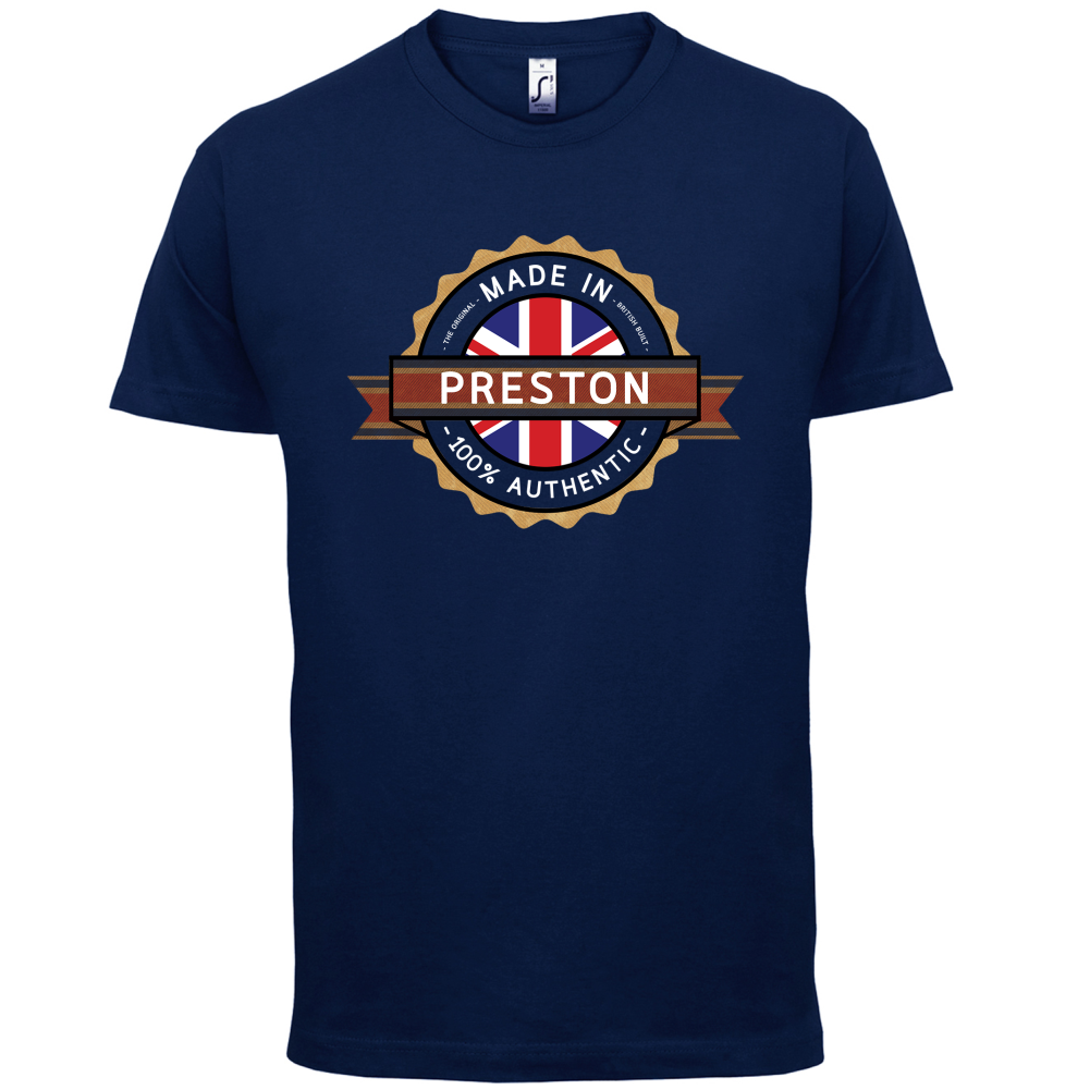 Made-In-PRESTON-Mens-T-Shirt-Town-City-13-Colours