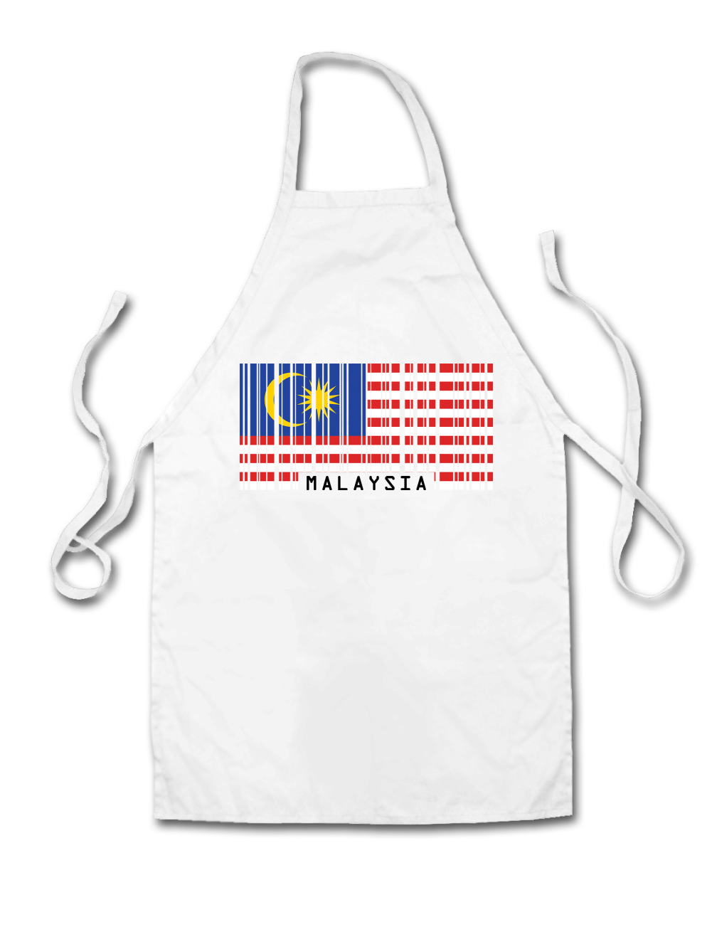 White apron malaysia - Malaysia Barcode Style Flag Adult Apron Country Chef
