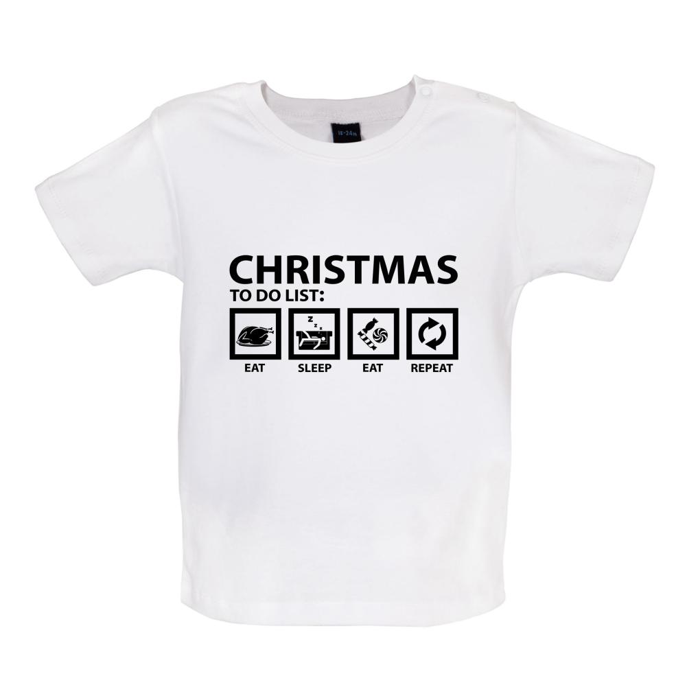 Black xmas t shirt - Christmas To Do List Baby T Shirt Tee