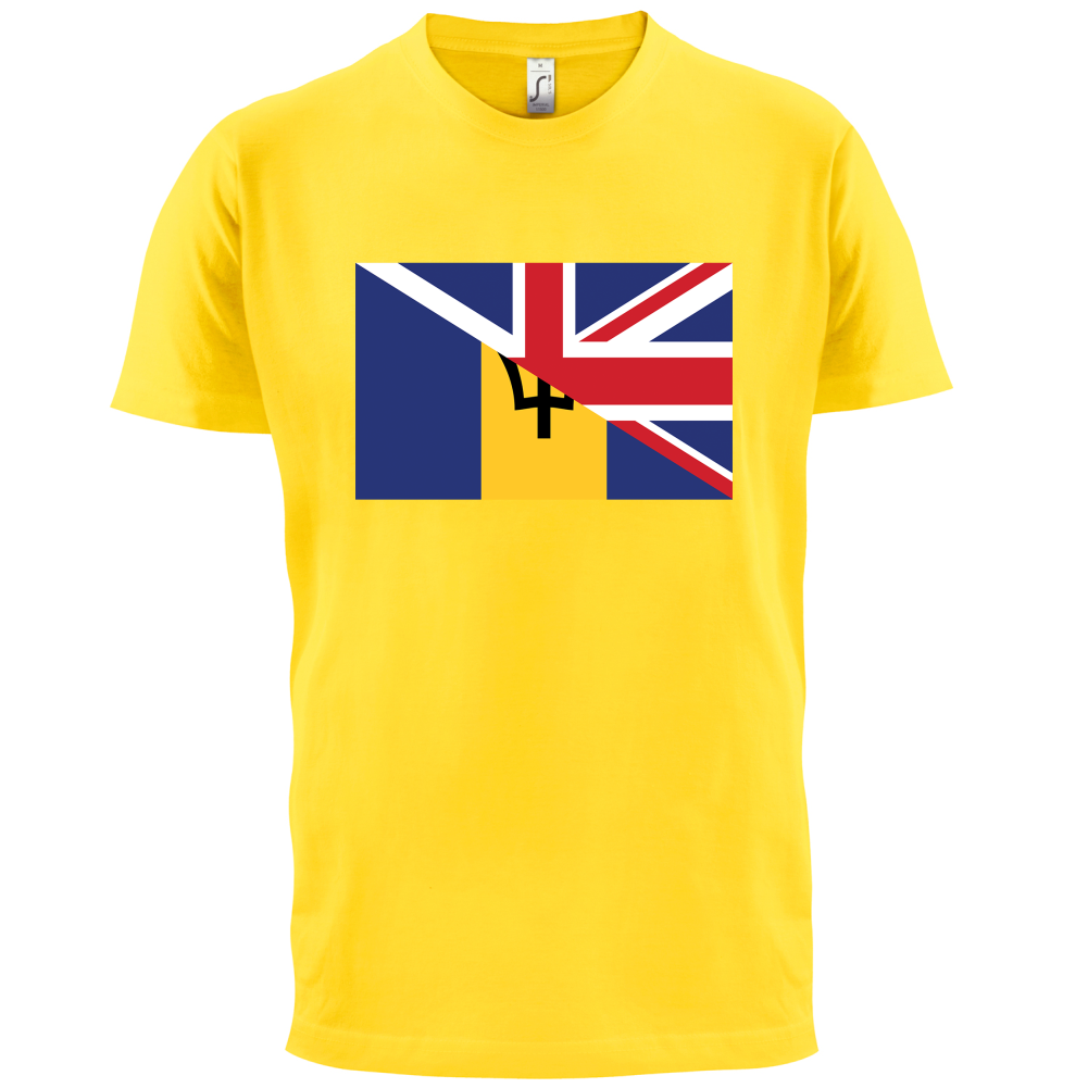 Black flag t shirt uk - Half Barbados Half British Flag Mens T Shirt